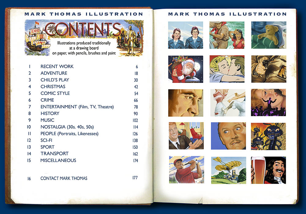 contents page of the archive website of the Illustrator Mark Thomas. Please note this is an all image site. Artwork photography and image processing by FXP Photography.