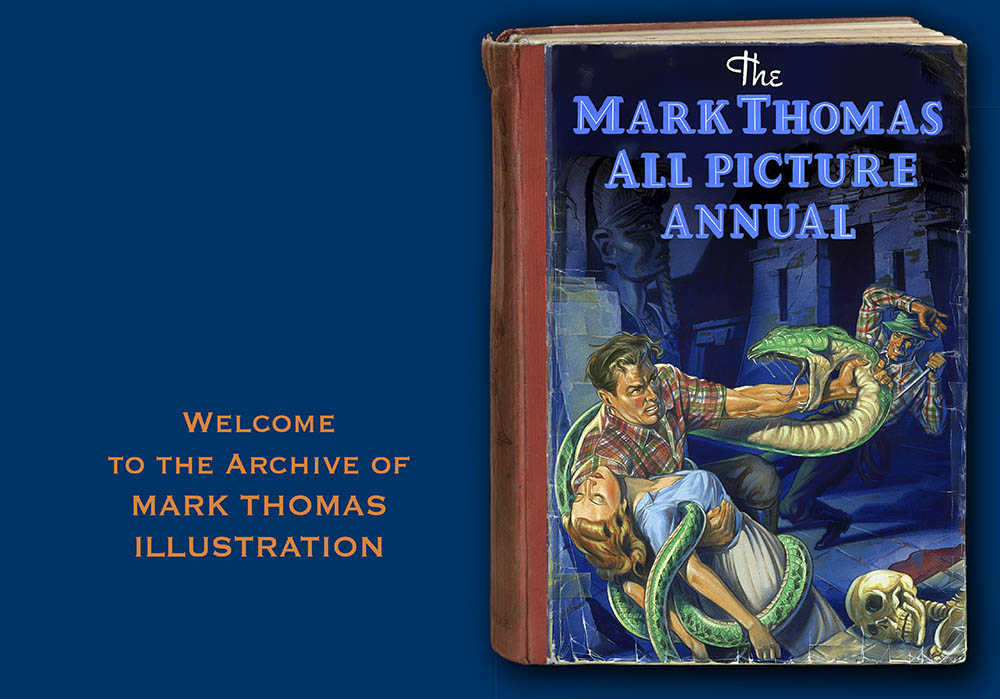 Cover page of the archive website of the Illustrator Mark Thomas. Please note this is an all image site. Artwork photography and image processing by FXP Photography.