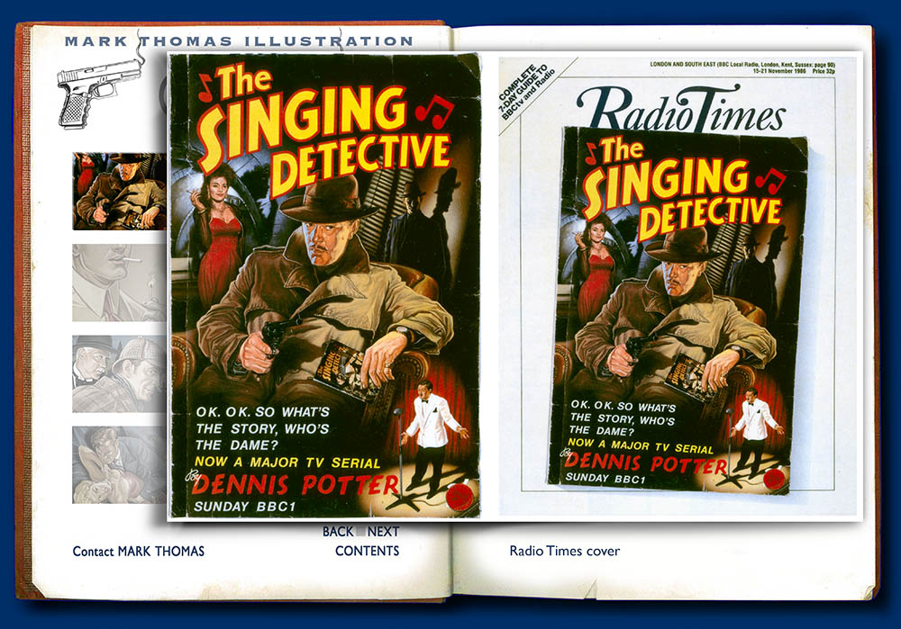 The Singing Detective. Dennis Potter. Crime illustration by Mark Thomas. Please note this is a UK based all image site