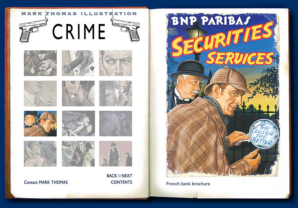 Sherlock Holmes, Dr Watson, BNP ParibasCrime. illustration by Mark Thomas. Please note this is a UK based all image site