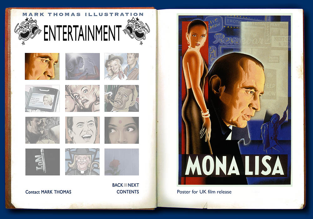 Mona Lisa, Mona lisa Movie Poster, Cathy Tyson, Bob Hoskins Neil Jordan. Entertainment Illustration by Mark Thomas. Please note this is a UK based all image site