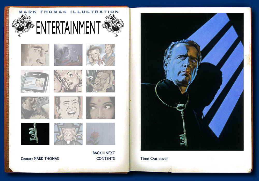 The Prisoner, Patrick McGoohan, Danger Man, Number 6. Entertainment Illustration by Mark Thomas. Please note this is a UK based all image site