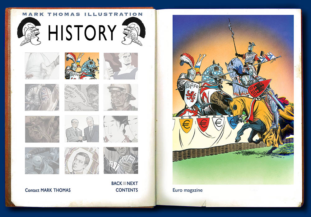 Jousting. History Illustration by Mark Thomas. Please note this is a UK based all image site