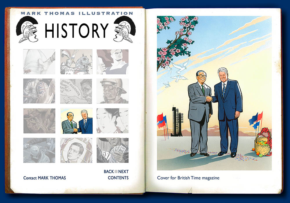 Bill Clinton, Clinton in China, Jiang Zemin, President Jiang. History Illustration by Mark Thomas. Please note this is a UK based all image site