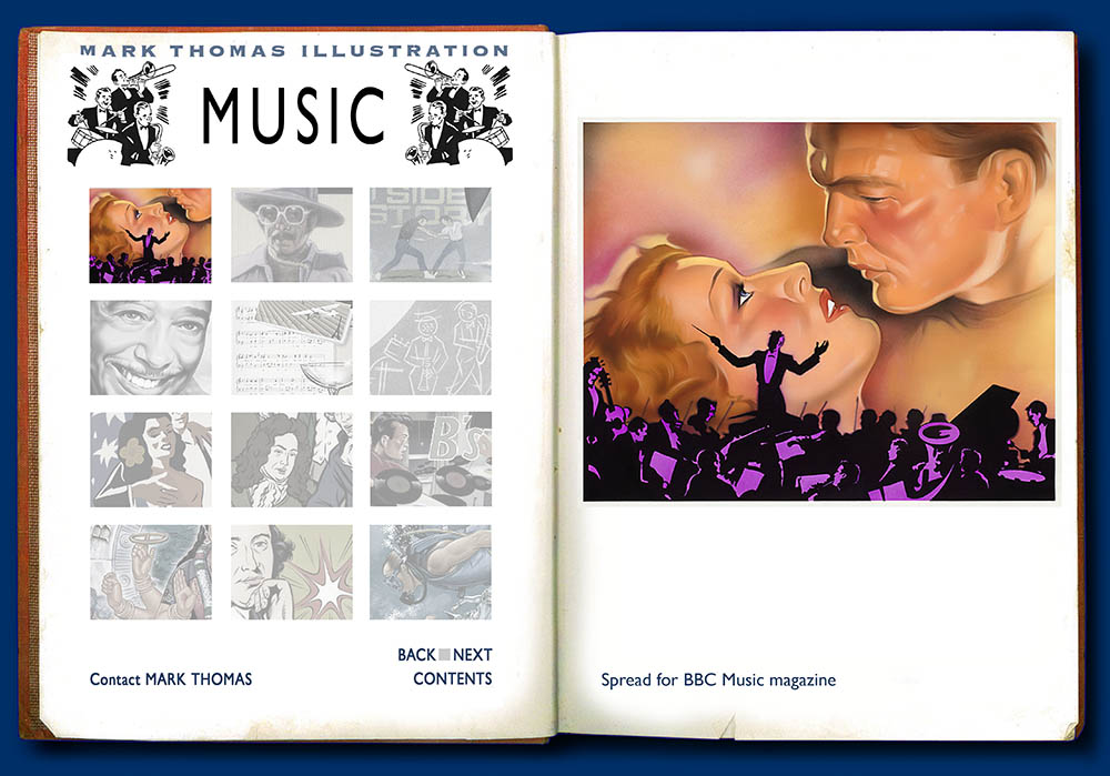 Film Music.Music Illustration by Mark Thomas. Please note this is a UK based all image site