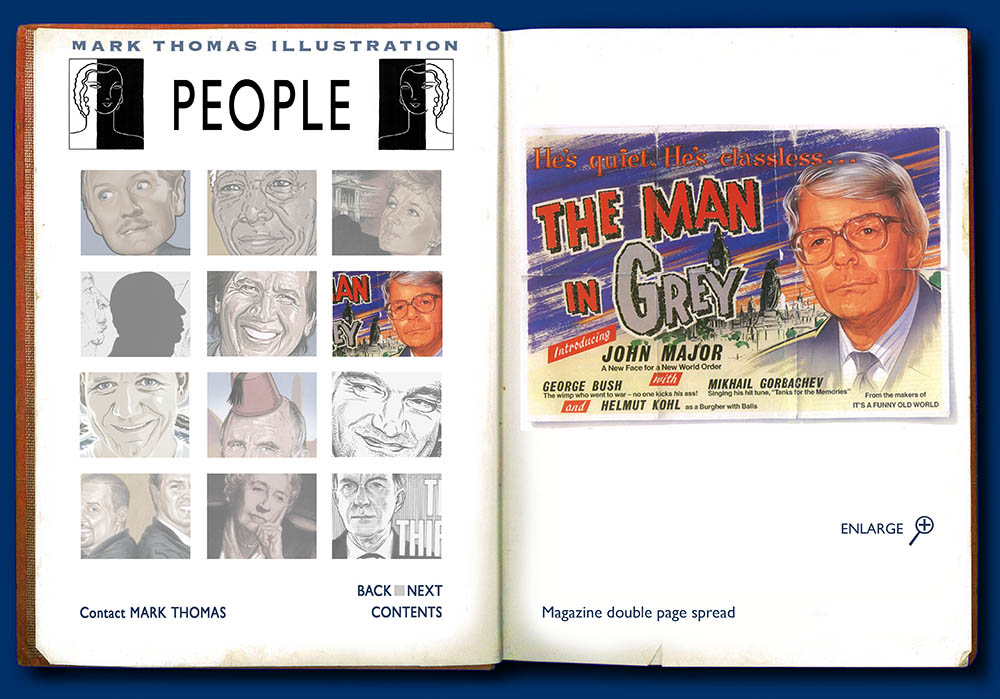 John Major. Portrait Illustration by Mark Thomas. Please note this is a UK based all image site