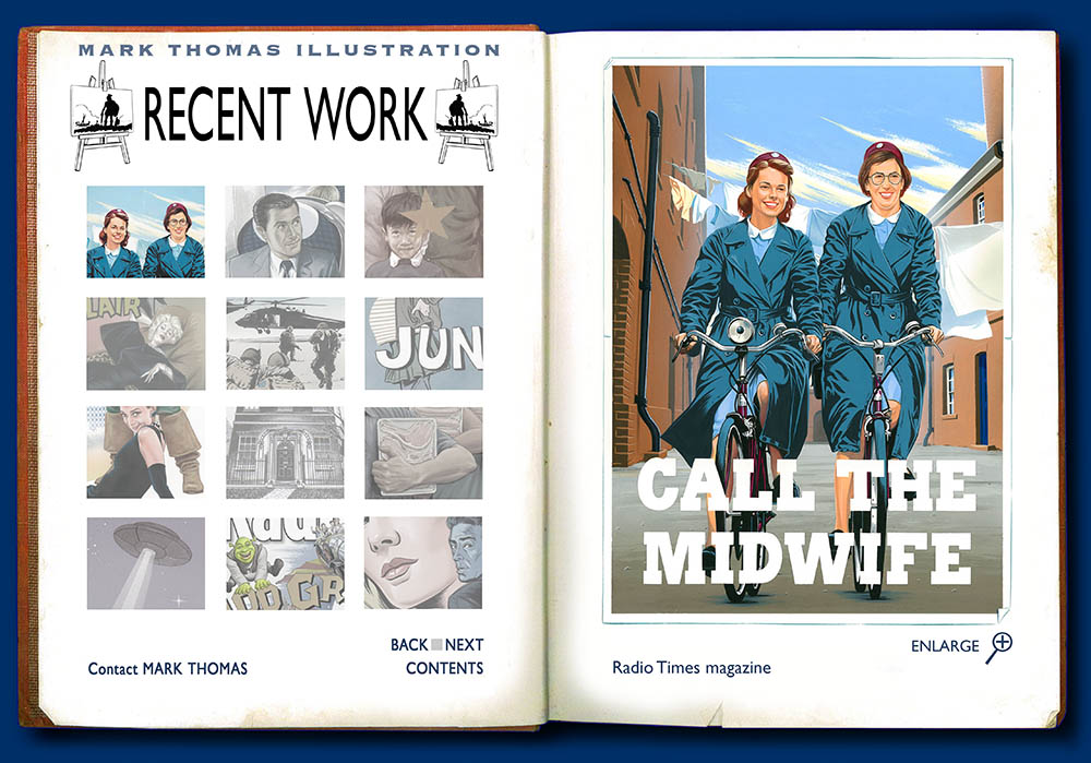 Call the Midwife, Jennifer Worth, Miranda hart, Jessica Raine, Judy Parfitt. Recent illustrations by Mark Thomas. Please note this is an all image site. Artwork photography and image processing by FXP Photography.