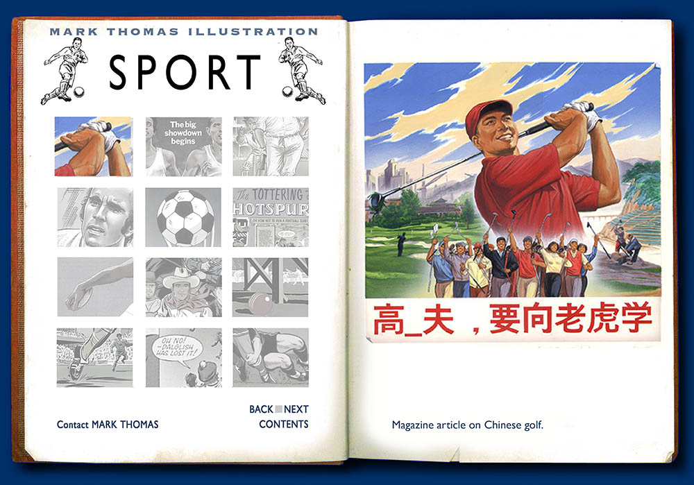 Chinese Golf. Sports Illustration by Mark Thomas. Please note this is a UK based all image site