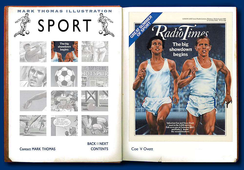 Sebastian Coe, Steve Ovett, Olympic 3000 meter. Sports Illustration by Mark Thomas. Please note this is a UK based all image site