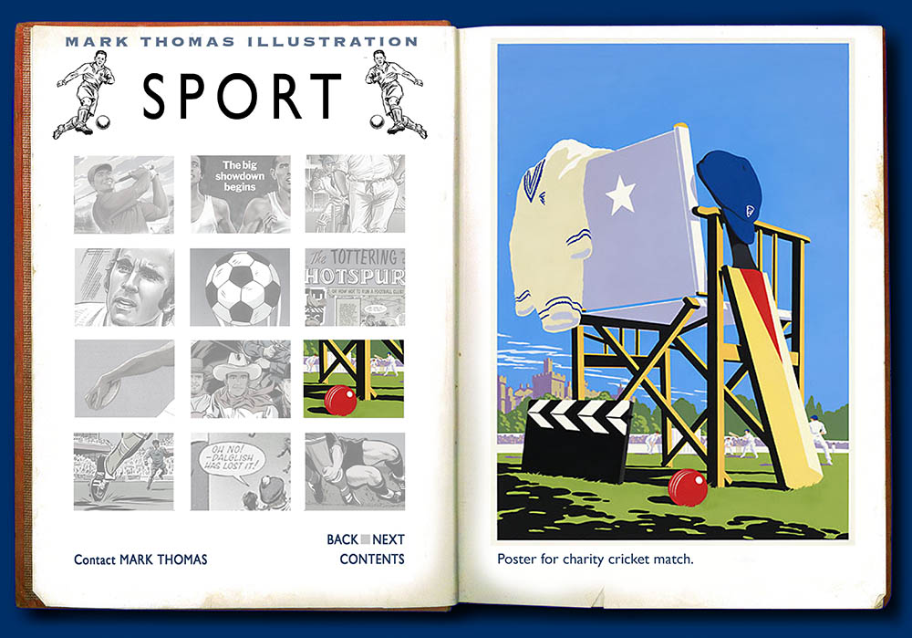 All Star Cricket. Sports Illustration by Mark Thomas. Please note this is a UK based all image site
